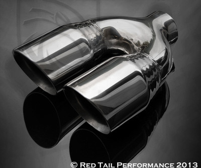 "Exhaust Muffler Tip  Dual Round Forward Slash Cut Double Wall Inner Bevel Staggered  2.25"" Inlet / ID, 7.75"" Outlet / OD, Red Tail Performance #RTP-012DL"