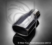 "Exhaust Muffler Tip  Semi-Oval Rolled Edge  2.25"" Inlet / ID, 3.15X2.70"" Outlet / OD, Red Tail Performance #RTP-019"