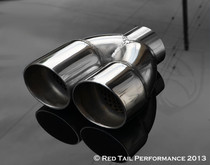 "Exhaust Muffler Tip Dual Round Double Wall Resonated And Staggered 2.25"" Inlet / ID, 5.63"" Outlet / OD #RTP-022DS"