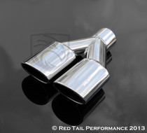"Exhaust Muffler Tip Dual Oval Forward Slash Cut Rolled Edge 2.25"" Inlet / ID, 7.375""X2.5"" Outer Dimension / OD, 9.75"" Length. 7.375"" Width #RTP-024"