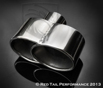"Exhaust Muffler Tip  Quad Fused Oval Rolled Edge  2.25"" Inlet / ID, 7.35X3.25"" Outlet / OD, Red Tail Performance #RTP-027"