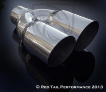 "Exhaust Muffler Tip  Dual Double Round Forward Slash Cut  2.25"" Inlet / ID, 3.5"" Outlet / OD, Red Tail Performance #RTP-034DL"