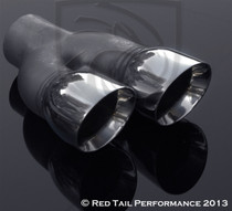 "Exhaust Muffler Tip  Dual Round Double Wall And Staggered  2.25"" Inlet / ID, 6"" Outlet / OD, Red Tail Performance #RTP-035R"
