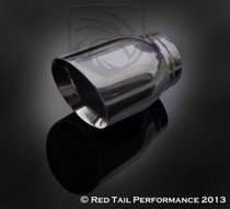 "Exhaust Muffler Tip  Round Forward Slash Cut Double Wall Inner Bevel  2.5"" Inlet / ID, 3.5"" Outlet / OD, Red Tail Performance #RTP-038"
