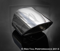 "Exhaust Muffler Tip  Custom Trapezoid Style Double Wall Rolled Inward Tip  2.5"" Inlet / ID, 6X5.25"" Outlet / OD, Red Tail Performance #RTP-043"