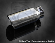 "Exhaust Muffler Tip round Forward Slash Cut Double Wall Sharp Edge 4"" Inlet ID 5"" Outlet OD 12"" Length #RTP-BQ002"