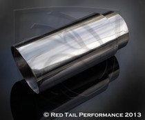 "Exhaust Muffler Tip Round Forwad Slash Cut Double Wall Sharp Edge 4"" Inlet / ID, 5"" Outlet / OD, 12"" Length #RTP-045-12"