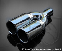 "Exhaust Muffler Tip  Double Wall Dual Round  Straight Cut Rolled Edge  2.25"" Inlet / ID, 3.5"" Outlet / OD, Red Tail Performance #RTP-050"