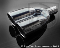 "Exhaust Muffler Tip  Double Wall Dual Round  Forward Slash Cut Rolled Edge  2.25"" Inlet / ID, 3.5"" Outlet / OD, Red Tail Performance #RTP-050B"