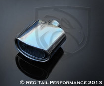 "Exhaust Muffler Tip  Curved Oval Double Wall Resonated  2.25"" Inlet / ID, 5.75x3"" Outlet / OD, Red Tail Performance #RTP-061-6"
