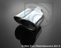 "Exhaust Muffler Tip Dual Fused Oval Rolled Edge Porsche Turbo Style Left Side 2.25"", Inlet / ID 3x3.5"", Outlet / OD 8.5"", Length"