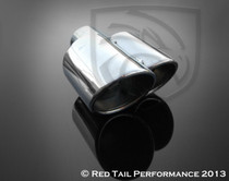 """Exhaust Tip Dual Fused Oval Rolled Edge Porsche Turbo Style Right Side 2.25"""" Inlet / ID, 3x3.5"""" Outlet / OD, 8.5"""" Length"""