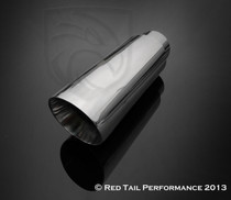 "Exhaust Muffler Tip Round Forward Slash Cut Double Wall Sharp Edge 3"" Inlet ID 4"" Outlet OD 12"" Length #RTP-066"