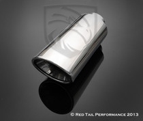 "Exhaust Muffler Tip Oval Forward Angled Double Wall Rolled Edge 3"" Inlet ID 4.75""x4.25"" Outlet OD 12"" Length #RTP-065"