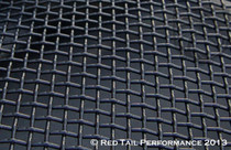 "Stainless Steel Black Mesh Grille T316 Quality-Lock Crimp Square Design, 16 Gauge, 4 square holes per inch, apx .182"" inch opening per hole 6""X36"" total size #RTP-M002B-1"