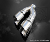 "Exhaust Muffler Tip Dual Round Double Wall Forward Forward Slash Cut Staggered 3"" Inlet / ID, 10""X4"" Outer Dimension / OD, 16"" Length #RTP-070"