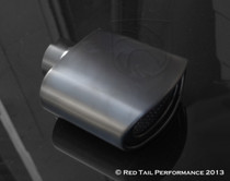 "Black Powder Coated Exhaust Muffler Tip  Curved Oval Double Wall Resonated  2.25"" Inlet / ID, 5.75x3"" Outlet / OD #RTP-061-6"