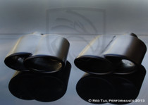 "Black Powder Coated Exhaust Muffler Tip Dual Oval  Fused Double Rolled Inward Left  2"" Inlet / ID, 6.25X2.75"" Outer Dimension / OD #RTP-002BLR"