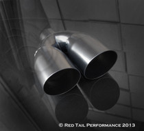 "Black Powder Coated Muffler Tip  Dual Double Round Forward Slash Cut  2.25"" Inlet / ID, 7""X3.5"" Outer Dimension  / OD #RTP-034DLB"