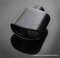 "Black Powder Coated Muffler Tip  Curved Split Center Oval Double Wall Resonated  2.25"" Inlet / ID, 5.75x3"" Outlet / OD #RTP-060-6B"