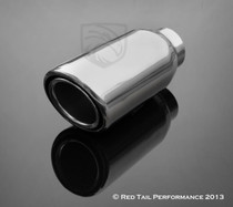 "Red Tail Performance Top Quality Exhaust Muffler Tip Round Forward Angled Inter-cooled Double Wall Rolled Edge 2"" Inlet / ID, 3"""