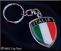 Amazing Italia Italy Real Metal Crest Flag Key Chain Chrome Automotive Jewelry