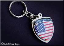 Amazing USA America American Metal Crest Flag Key Chain Chrome Auto Ring Jewelry