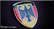"Amazing German Germany Real Car Metal Automotive Fender Grille Emblem Auto Flag 1.25"" Wide X 1.5"" Tall"