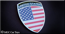 "Amazing USA America American Real Car Metal Automotive Fender Grille Emblem Auto 1.25"" Wide X 1.5"" Tall"