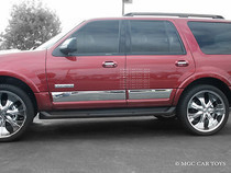 """2007-2010 Ford Expedition Stainless Steel Body Side Rocker Panel Trim 4Pc 6""""Wid"""