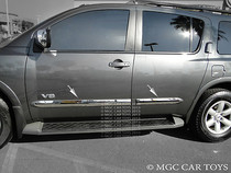 2004-2010 Nissan Armada Body Side Molding Trim Overlay Stainless Steel 4Pc Set