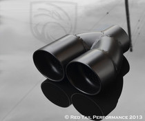 "Exhaust Muffler Tip Dual Round Double Wall Resonated And Staggered 2.25"" Inlet / ID, 5.63"" Outlet / OD #RTP-022DSB"
