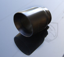 "Black Powder Coated Exhaust Muffler Tip Round Forward Slash Cut Double Wall  3"" Inlet / ID, 4"" Outlet / OD #RTP-069"