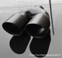 "Exhaust Muffler Tip  Dual Round Forward Slash Cut Double Wall 2.5"" Inlet / ID, 7.75""X3.5""  Outer Dimension / OD #RTP-012DLB"
