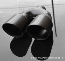 "Exhaust Muffler Tip  Dual Round Forward Slash Cut Double Wall 2.5"" Inlet / ID, 7.75""X3.5""  Outer Dimension / OD #RTP-012DLB"