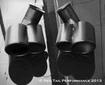 "Exhaust Muffler Tip Direct Fit  Dual Fused Oval Rolled Edge Porsche Turbo Style Right  Side 2.25"" Inlet / ID, 3.5""x5.5"" Outer Dimension / OD #RTP-021LRB (Left and Right Tips)"