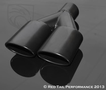 "Exhaust Muffler Tip Dual Oval Forward Slash Cut Rolled Edge 2.25"" Inlet / ID, 7.375""X2.5"" Outer Dimension / OD, 9.75"" Length. 7.375"" Width #RTP-024B"