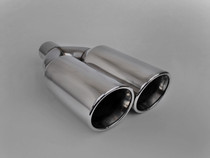 "Exhaust Muffler Tip  Dual Round Double Walled Inner Beveled  3"" Inlet / ID, 10.25""X5""  Outer Dimension / OD #RTP-073"