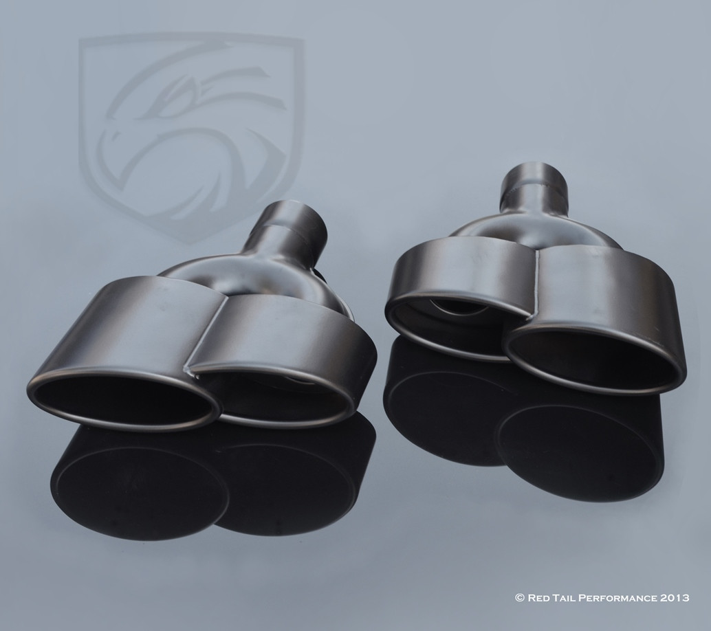 Exhaust Muffler Tip Dual Black Double Wall Resonated Staggered 2.25 ID 6 long