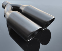 "Black Exhaust Muffler Tip Dual Round Double Walled Inner Beveled 3"" Inlet / ID, 10.25"" X 5"" Outer Dimension / OD #RTP-073B"