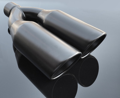 """Black Exhaust Muffler Tip Dual Round Double Walled Inner Beveled 3"""" Inlet / ID, 10.25"""" X 5"""" Outer Dimension / OD #RTP-073B"""