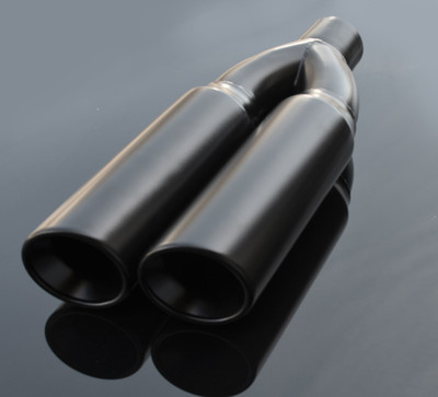 "Black Exhaust Muffler Tip Dual Round Double Walled Inner Beveled Sideway Slanted 3"" Inlet / ID, 8.25""X4"" Outer Dimension / OD #RTP-074B"