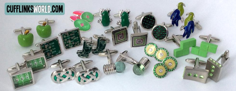 Green Cufflinks from Cufflinks World