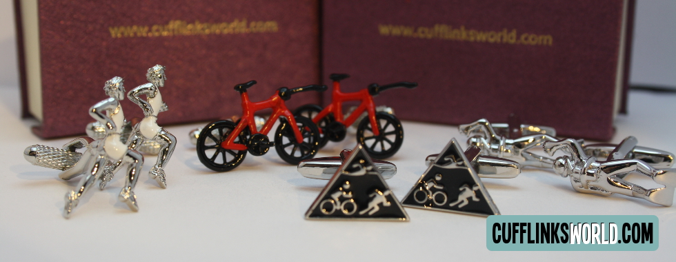 Swim, Cycle, Run and celebrate with our triathlon inspired cufflinks!
