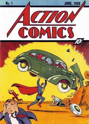 "By ""Action Comics #1"" at The Grand Comics Database. Retrieved October 31, 2006. (similar file if not the one originally uploaded.), Fair use, https://en.wikipedia.org/w/index.php?curid=1299592"