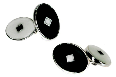Black and White Enamel Formal Cufflinks
