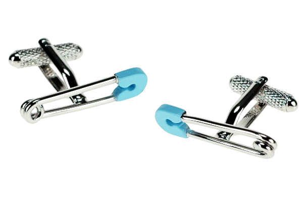Blue Safety Pin Cufflinks