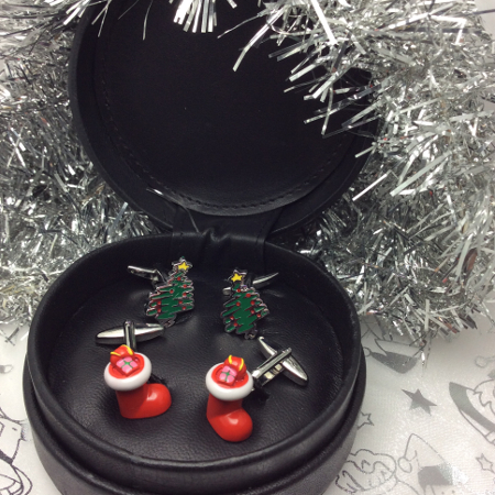 Special Offer | Two pairs of Christmas Cufflinks Gift Set in Leather Case