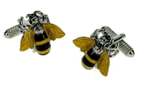 Beautiful yellow 'honey' bee cufflinks - for all busy 'bee' dads!