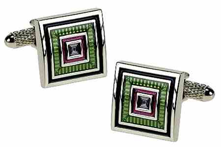 Green Square 1930's Style cufflinks